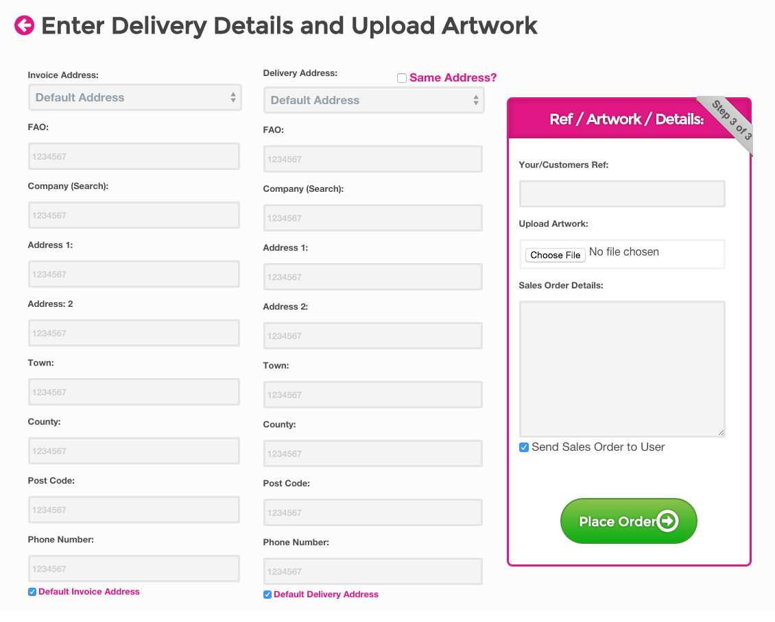 Simply confirm the delivery and invoice address and raise the order into order progress and send a sales order