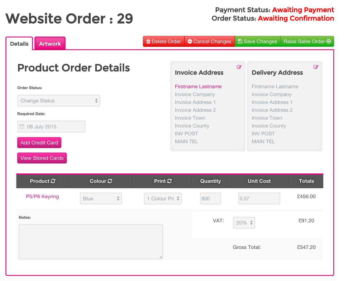 You can edit and check all details of the order before raising it as a sales order / invoice